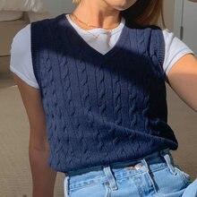 Однотонный Повседневный свитер без рукавов y2k вязаные Джемперы
