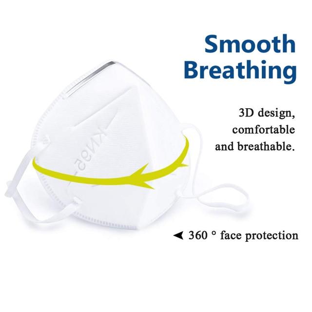 10/20 pcs/bag KN95  Dustproof Face Mask PM2.5 Anti-fog Strong Protective Mouth Mask Respirator Reusable 4