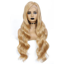 Blonde Lace Wig Fashion Hair Synthetic Lace Front Wig Pelucas De Mujer For Black Women Average Size Bohemian Wavy Ombre Wig(China)
