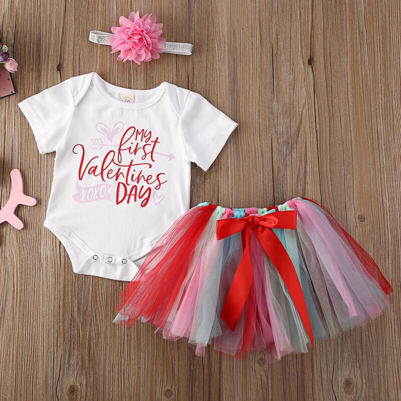 US Infant Baby Girl Valentine/'s Day Romper Jumpsuit Bodysuit Headband Outfit Set