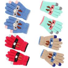 1 пара, детский Рождественский трикотаж, хлопковые перчатки с рисунком, теплые эластичные Рождественские перчатки для детей 3-8 лет