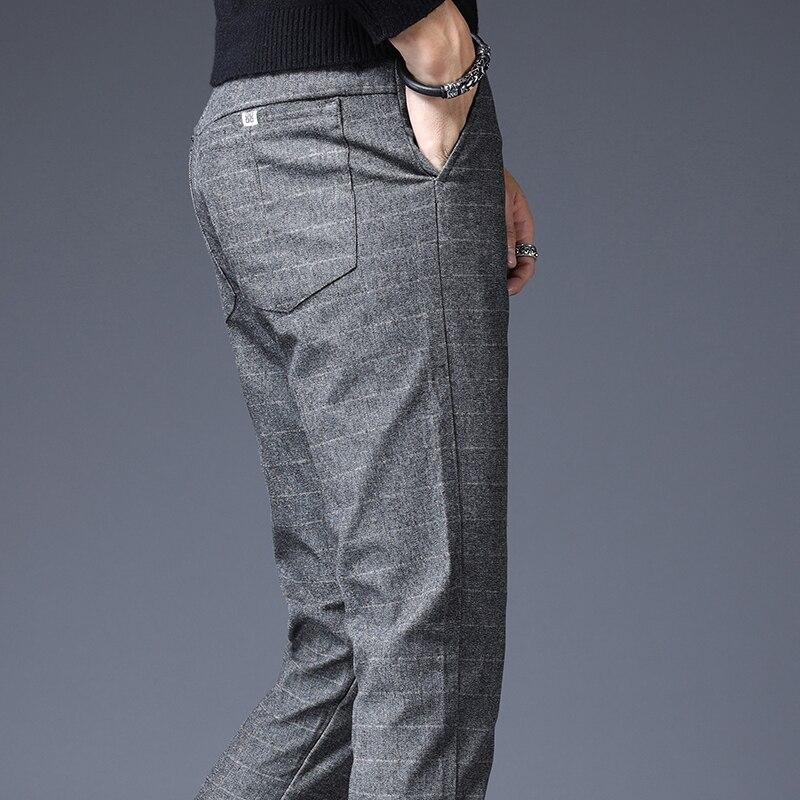 Stretch Plaid Casual Men Pants Men's Pants