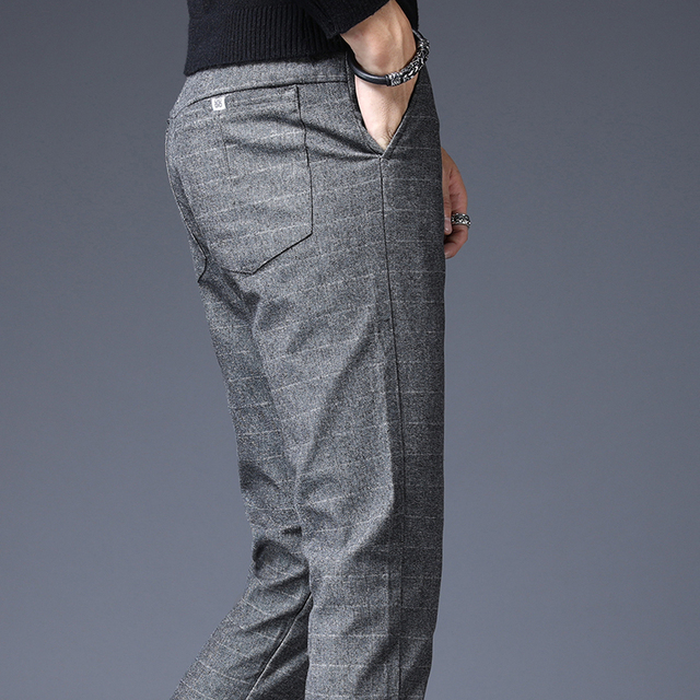 Stretch Plaid Casual Pants Men Spring summer High Quality Business thin Plaid Brand Men's Straight Gray Trousers Pant 35
