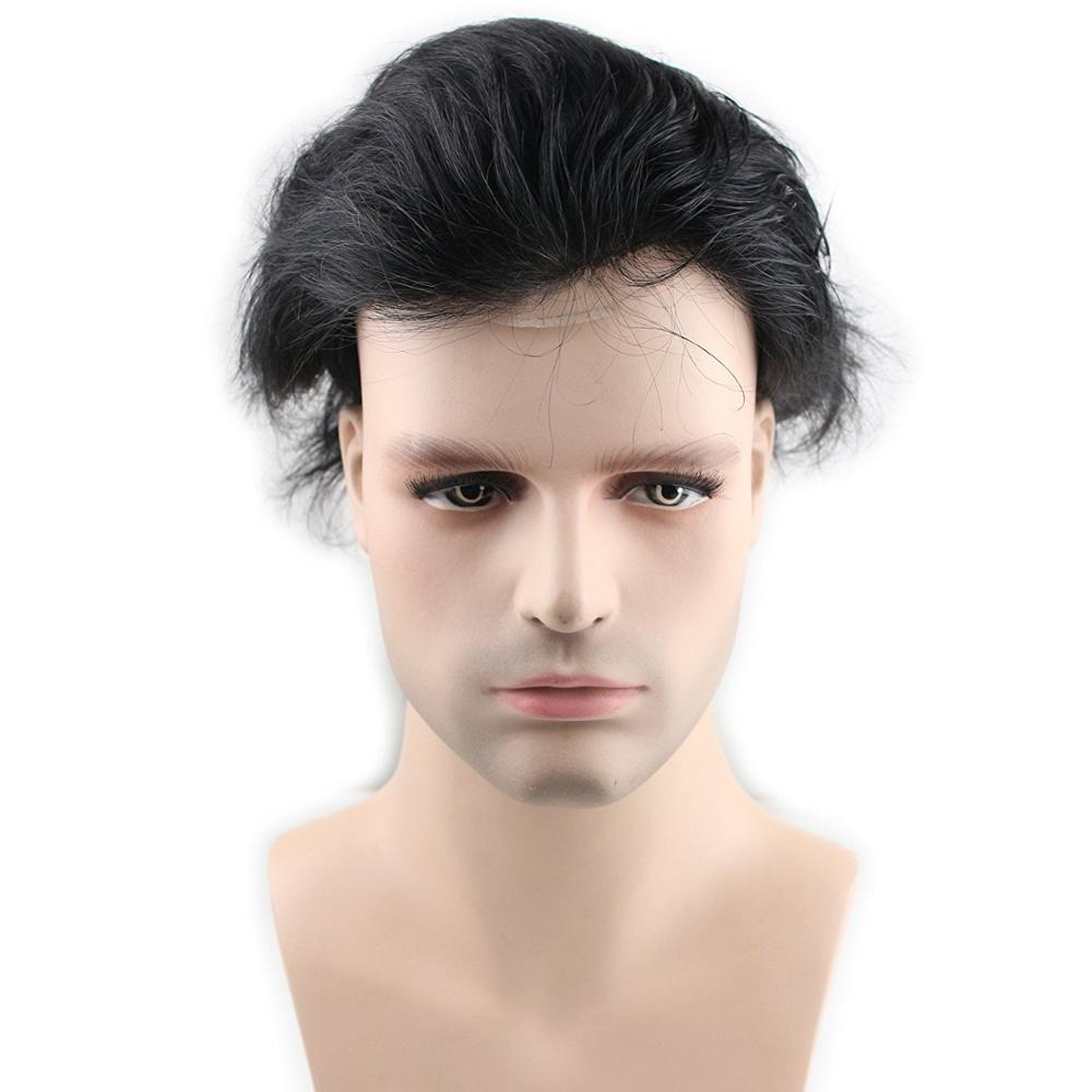 BYMC 6 Inch Mens Toupee Swiss Lace & PU Toupee Replacement Systems Handmade Men Wig Hairpiece Natural Remy Brazil Human Hair