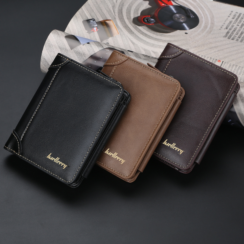 Baellerry Vintage Top Quality Men Wallets Leather Wallet for Credit Cards Money Purse Black Barown Wallets and Purses