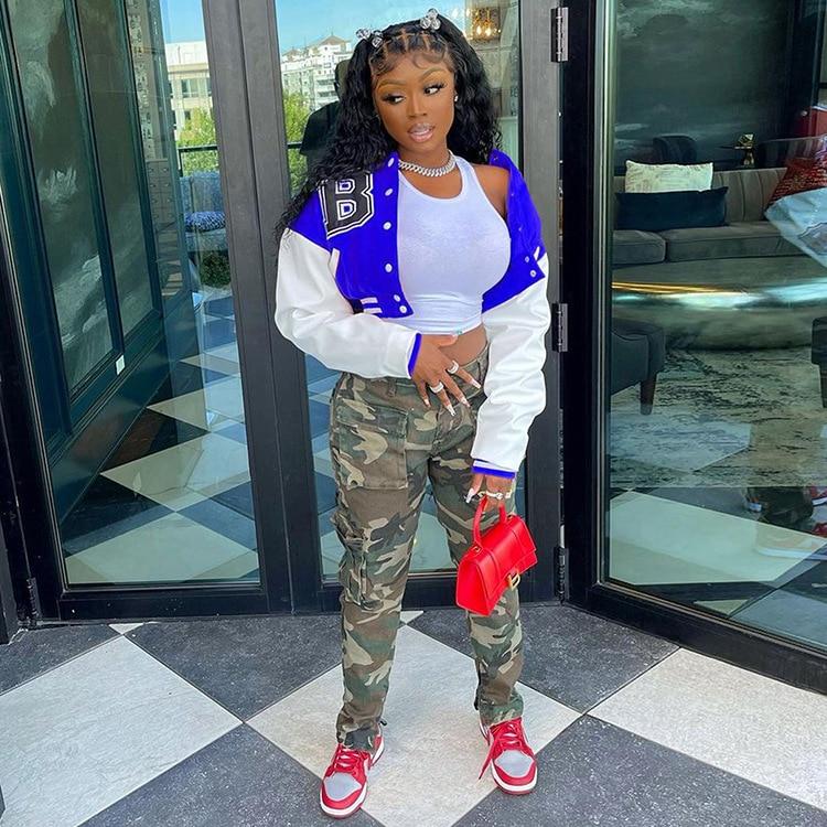 H93c57373cedf4ec4b51f908268efd941A Baseball Jackets for Women 2021 Autumn Letter Print Color Patchwork Cropped Long Sleeve Loose Short Bomber Jacket