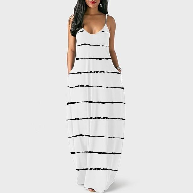 Loose Sexy Long Dress Women Strap Fashion Women's Loose Casual Summer Striped Print Pocket Sling Sleeveless Dress Summer 2
