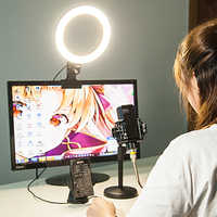 MAMEN 20cm Luz de anillo portátil para Selfie para Youtube EN DIRECTO Streaming Studio Video Led regulable iluminación de fotografía con Cable USB