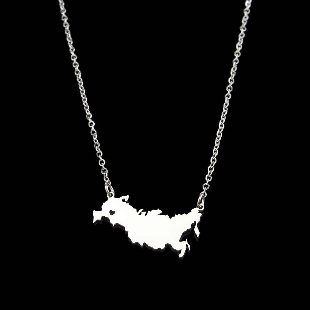 Stainless Steel Russian Federation necklace Russia Map necklace for women geometric Heart pendant necklace custom jewelery gift