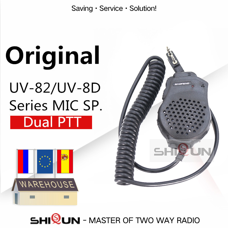 Dual PTT Earpiece MIC Speaker UV-82 UV-8 UV82L UV-89 UV-82 Plus UV-82TP GT-5TP UV-82HP UV-82HX Microphone For UV-8D UV 82 UV82