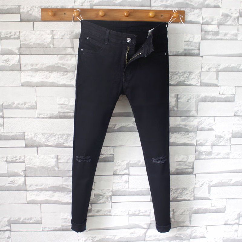Black And White With Pattern Knee Capri With Holes Jeans Men's Slim Fit Pants Elasticity A- Line Ripped Jeans 9 Points