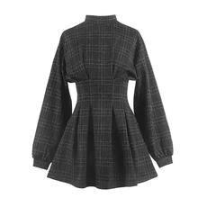 Женское осенне зимнее винтажное платье мини в клетку ТРАПЕЦИЕВИДНОЕ