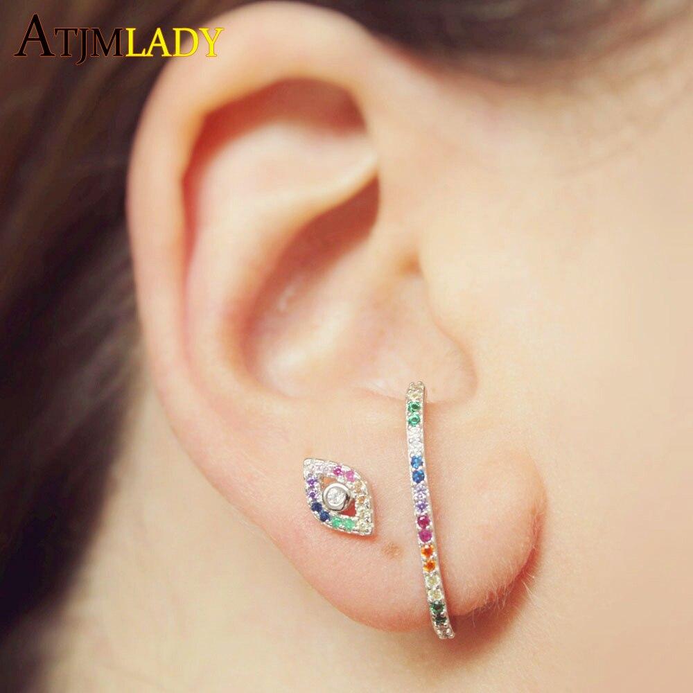 minimalist silver stud for womens Tiny stud eye earrings Sterling silver eye earrings evil eye jewelry with zirconia