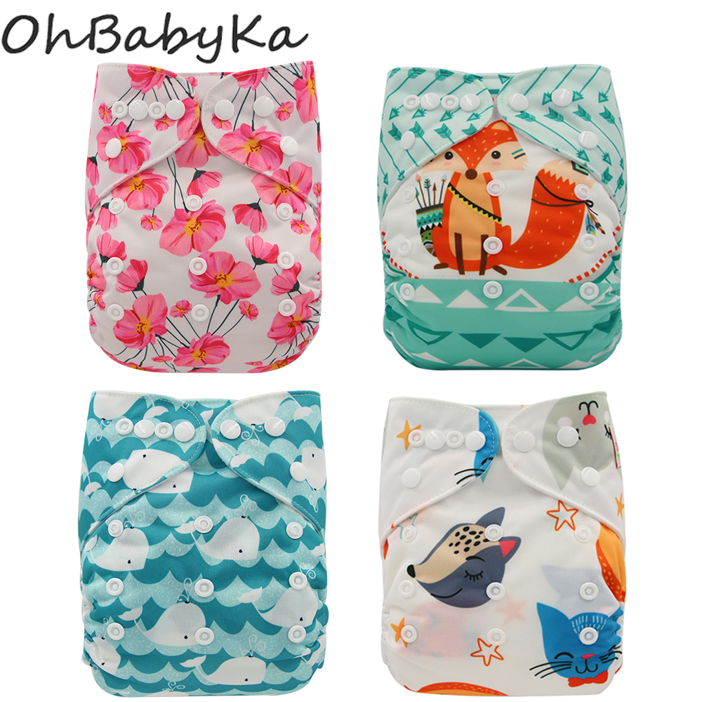 Ohbabyka Washable Diapers Couches Lavables  2019 Nappy Baby Diaper Cover Wrap Baby Nappy Changing Reusable Baby Cloth Diapers