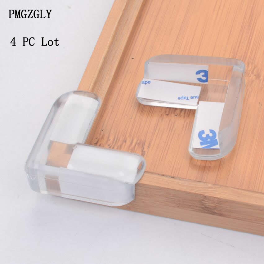 4Pcs/set L Shape Transparent Protector Cover Table Corner Guards Children Protection Furnitures Edge Corner Guards Baby Safety