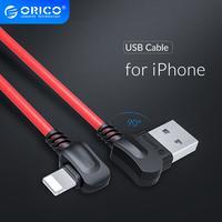 ORICO 90 grados de ángulo recto de flexión para Apple iluminación USB a USB Cable de carga para iPhone X XS X Max 7 8 Plus de datos Cable USB de teléfono