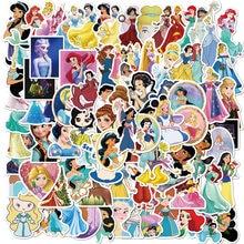 50/100 pçs bonito princesa dos desenhos animados adesivo para crianças bagagem skate telefone portátil carro bicicleta guitarra menina decalque adesivos