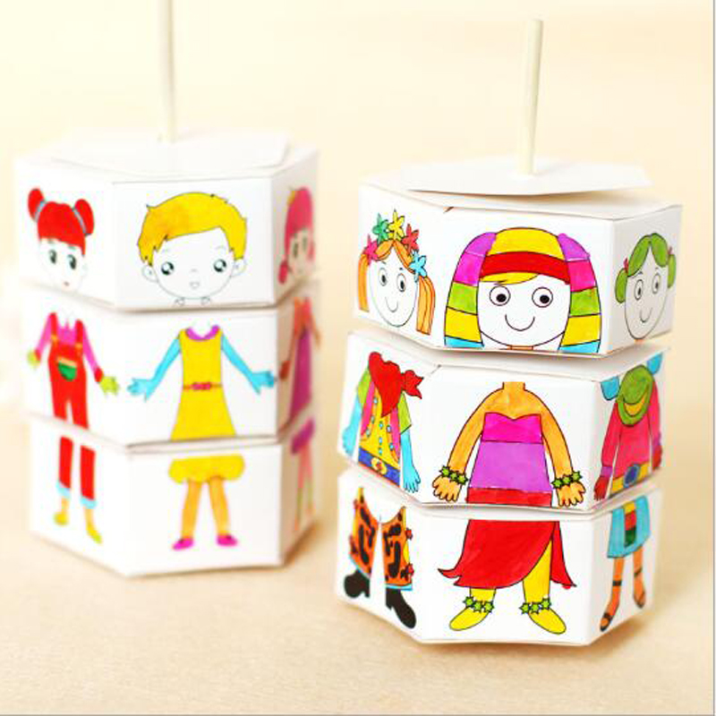 Creative Handcraft Puzzle Kindergarten Toys New Arrivals Children Rotary DIY Paper Colour Matching Rotation Change Clothes Doll
