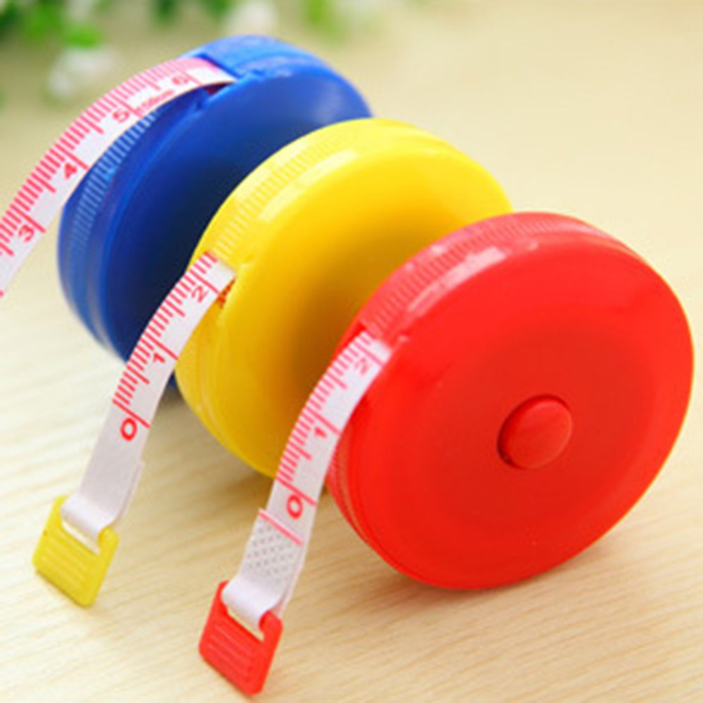1.5M Mini Auto Retractable Tape Measure Centimeter/Inch Ruler Flexible Candy Color Ruler Measuring Tape (Random Pattern)