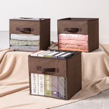 Storage Box Imitation Linen Non-Woven Bedroom Toys Clothing Sorting Case Folding With Transparent Window Desktop Organzier Boxes