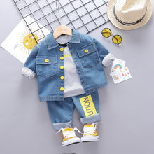 Cowboy Coat Baby Boy Suit Long Sleeve Striped T-shirt+Denim Outwear+Jeans 3 Pieces Newborn Set Autumn Toddler Cotton Baby Outfit(China)