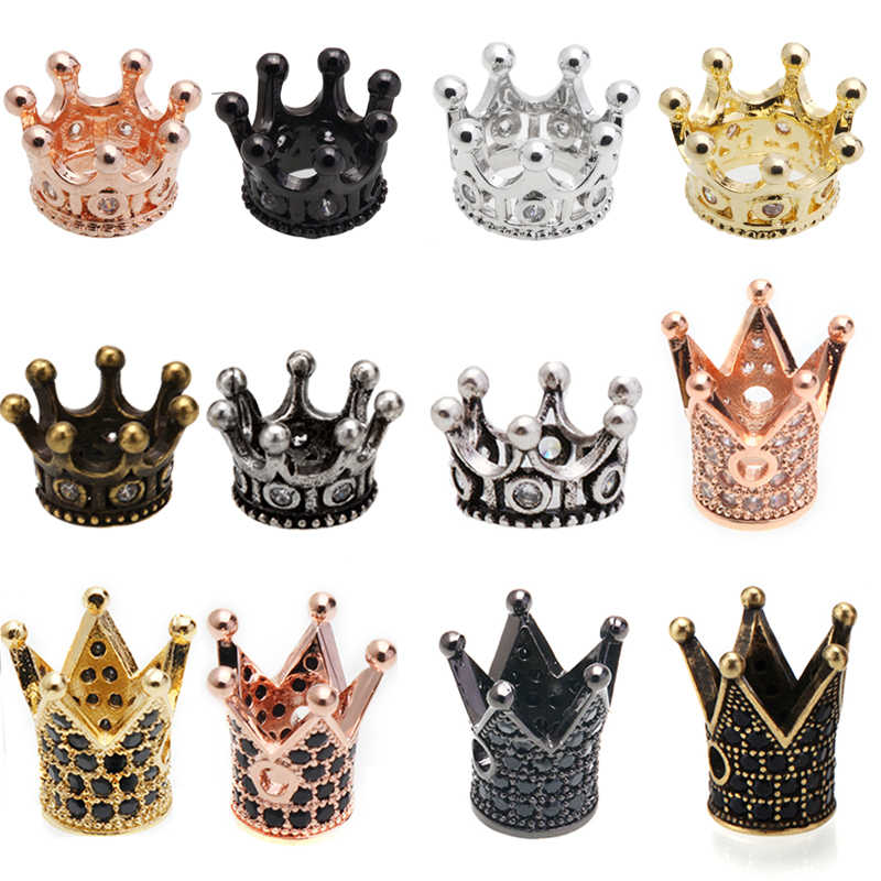 1pcs Micro Pave CZ Crown Beads Cubic Zirconia Crown Spacer Beads Bracelet Spacer Charm Beaded Brass beads for jewelry making