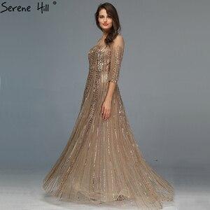 Image 4 - Gold Dubai Design Langen Ärmeln Abendkleider 2020 A Line Luxus Perlen Kristall Abendkleider Real Photo LA70170