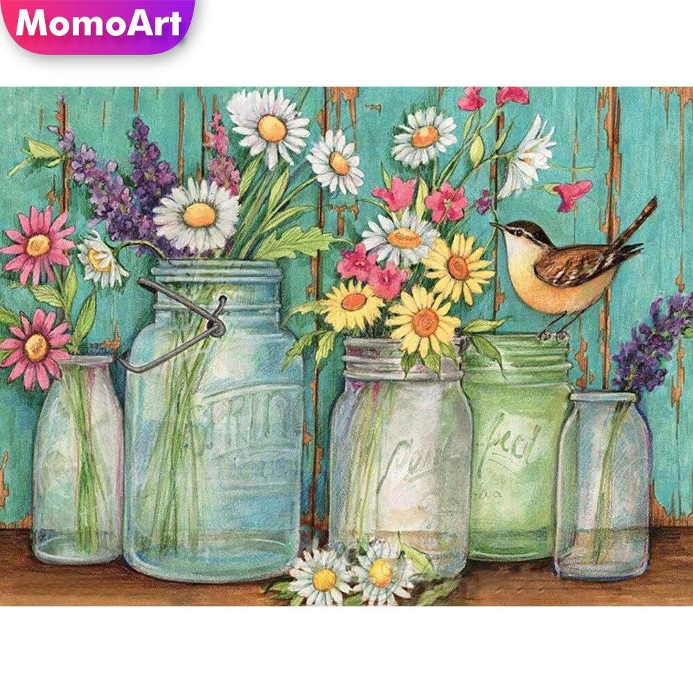 MomoArt Diamond Paninting Of Cross Stitch Vase Flowers Embroidery Needlework Square Full Mosaic Home Decor