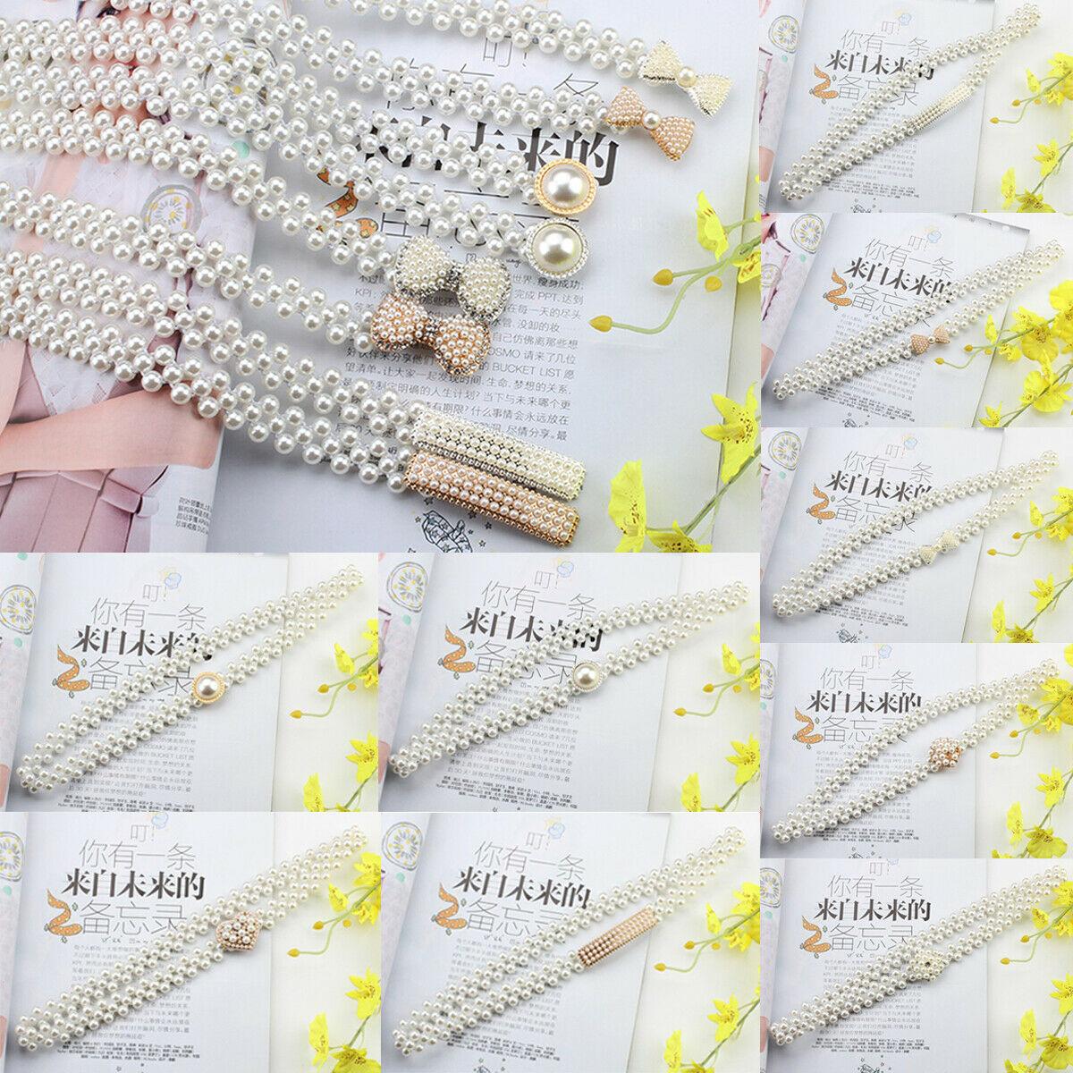 Brand New Rhinestone Buckle Pearl Elastic Belt Women Pearl Fashion Stretch Buckle Skinny Waist Chain Waistband Dress