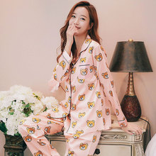 2019 women pajama sets cartoon printed satin long-sleeved cardigan+pants 2pcs homewear spring autumn Plus Size Loungewear