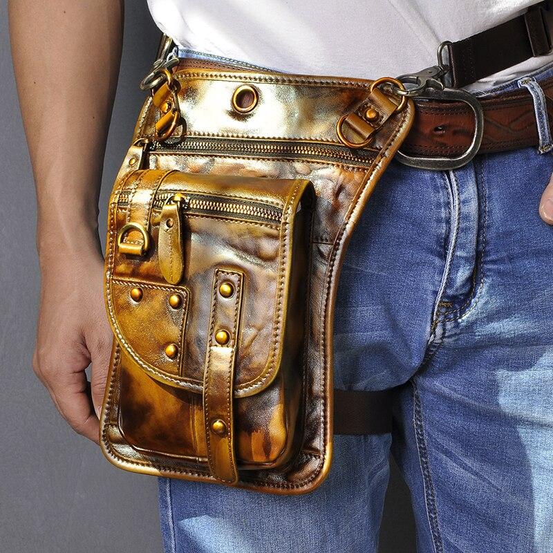 Quality Leather Multifunction Men One Shoulder Crossbody Bag Travel Hook Belt Fanny Waist Pack Phone Case Drop Leg Bag 2141-l