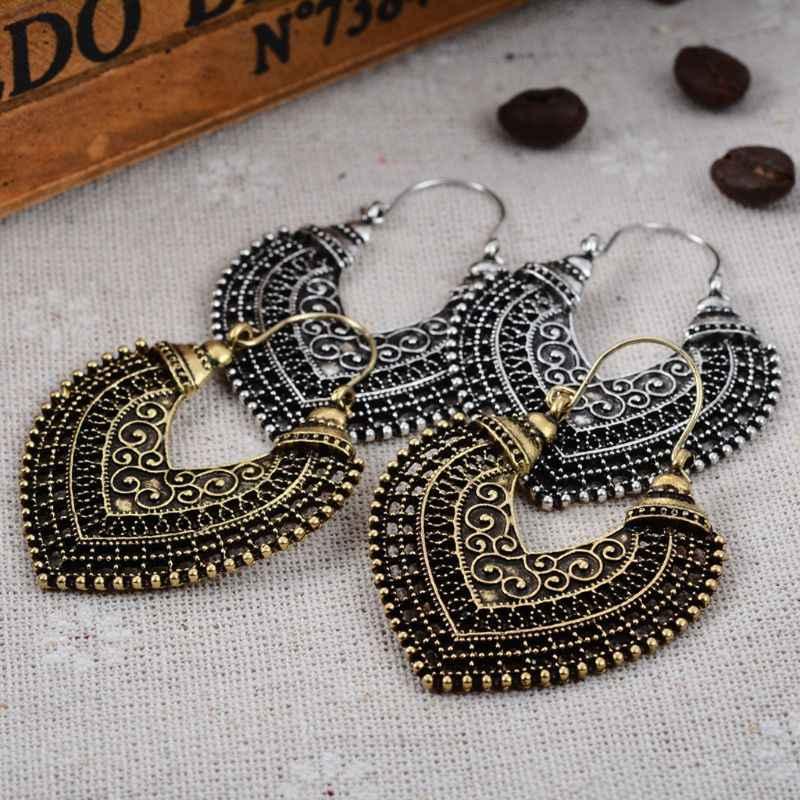 Vintage Metalen Craved Bloem Bollywood Oorbellen Voor Vrouwen Etnische Indian Sieraden 124A