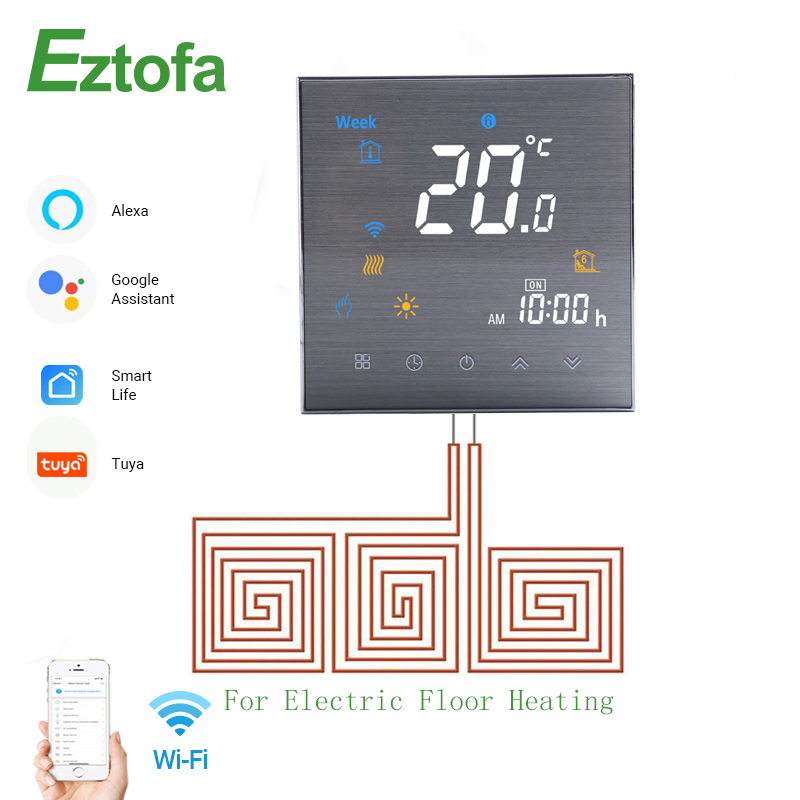 WiFi Smart Thermostat  Temperature Controller for Electric Floor Heating  Smart Life Tuya APP Works with Alexa Google Home