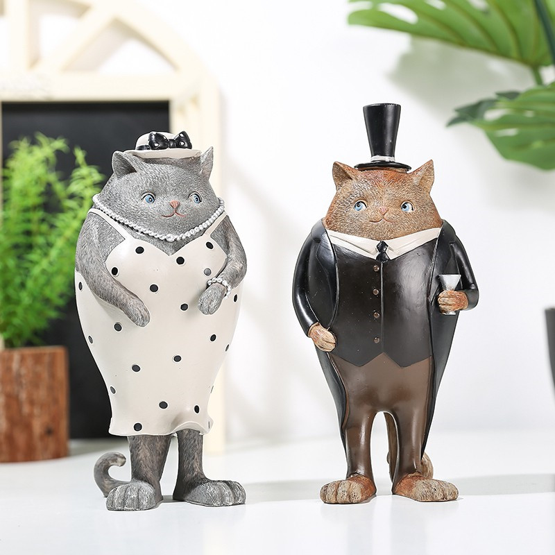 Retro Cats Boy And Girl Art Sculpture Art Cute Animal Figurine Ornaments Resin Crafts Home Decoration Accessories R4862
