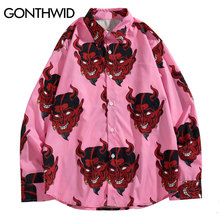 GONTHWID Devil Print Long Sleeve Shirts Harajuku Hip Hop Casual Button Up Dress Shirt Streetwear Fashion Casual Shirts Tee Tops