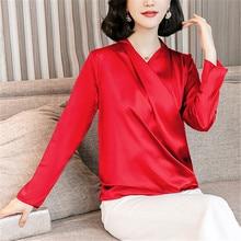 Fashion Autumn Women Silk Shirts Woman Satin Blouse Shirt Elegant V-neck Blouses Plus Size Tops