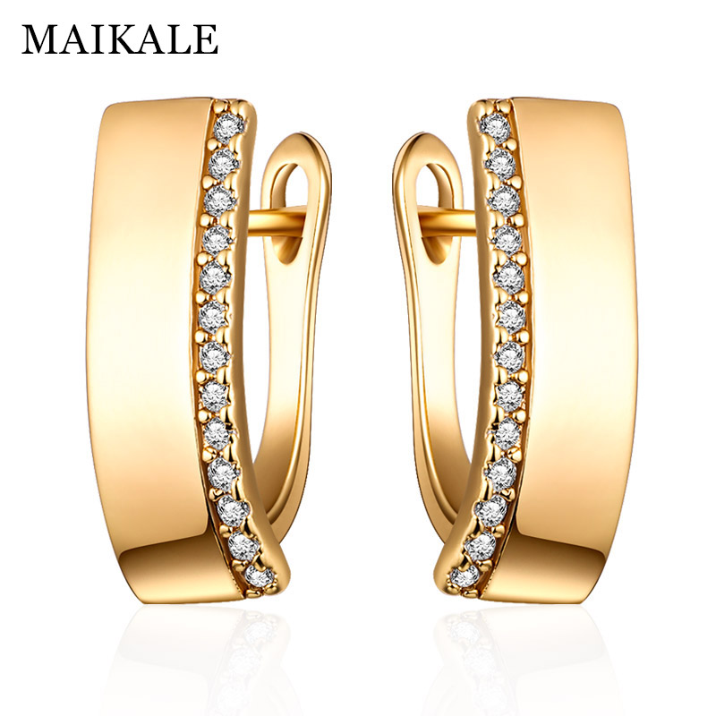 MAIKALE Classic New Design Square Stud Earrings Gold Silver Color White AAA Cubic Zirconia Big Simple Korean Earrings For Women