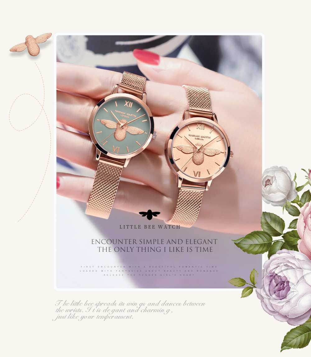Rose Gold Bee Personality Design Ladies Watch 14