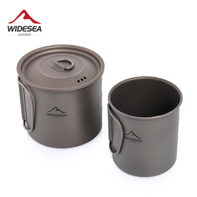 Widesea Camping Mug Titanium Cup Tourist Tableware Picnic Utensils Outdoor Kitchen Equipment Travel Cooking set Cookware Hiking 1