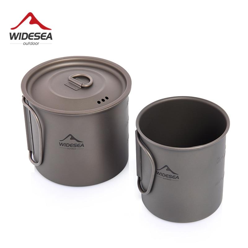 Widesea Camping Mug Titanium Cup Tourist Tableware Picnic Utensils Outdoor Kitchen Equipment Travel Cooking set Cookware Hiking