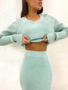 Sweater Outfits Pullover Skirt Two-Piece-Set Cropped Knitting Cashmere WOTWOY Elegant