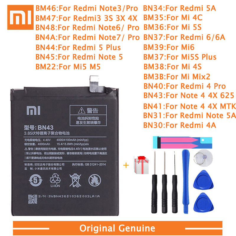 Xiao <font><b>Mi</b></font> Original Phone <font><b>Battery</b></font> For <font><b>Xiaomi</b></font> Redmi 3 Pro 3S 3X Note <font><b>4</b></font> 4X 4A 5A 6 6A 7 <font><b>Mi</b></font> 5 6 4S <font><b>Mi</b></font> 2 5S Plus Replacement <font><b>batteries</b></font> image