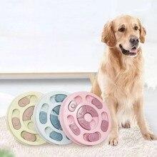 Пластиковая медленная кормушка для собак, щенков, кошек, едят круглые дисковые миски, новинка, анти-удушье, утечка пищи, Интерактивная игрушка-головоломка для кошек, собак
