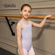 Sansha crianças ballet dança collant em torno do pescoço boné manga respirabilidade ballet prática ginástica crianças dancewear 51ai0003p