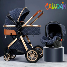 Cochecito de bebé multifuncional 2 en 1, carrito de bebé con paisaje alto, luz reclinable, plegable, bidireccional, diseño de concha de huevo