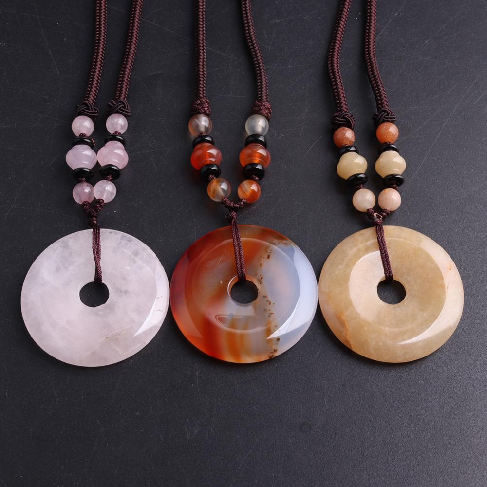 3pcs Hand Knotter String stone necklace Donuts quartz Natural Stone Beads Energy Women Necklace Women jewelry colar wholesale