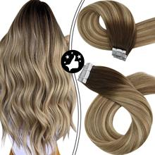 Hair In-Extensions Balayage Ombre Human-Hair-Tape Seamless-Machine Remy Natural Double-Sided