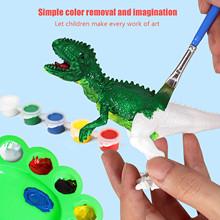 Twórcze dzieci DIY kolorowanie sztuki biały zarodek malowanie imitacja zwierzęcia Model dinozaura zestaw dziecko malowanie otwarta wyobraźnia zabawka tanie tanio CN (pochodzenie) Z tworzywa sztucznego none Unisex Kolorowe błoto malowanie 3 lat Farby nauka notebook kolorowania notebook