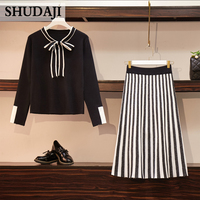 Large Size Women's dress Autumn winter long sleeve bow tie striped dress knitted sweater Suit skirt two piece suit drress