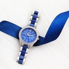 Women Fashion Blue Quartz Watch Mesh Strap Dress Rhinestone